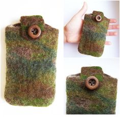 """FELTED phone case - """"THE HUNTER"""" Technique: felted Material: wool, wood Mobilcase made of merino wool with the colors of the wilderness, not just for hunters! Decorated with a wooden button. Size: 7 x 11 cm (Height x Width) Felt Phone Cases, Felt Material, Hunters, Fingerless Gloves, Arm Warmers, Wilderness, Merino Wool, Button, Colors"""