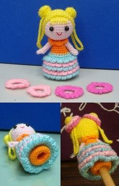 Pencil Topper - Little girl with bun hair - free pattern (PDF)