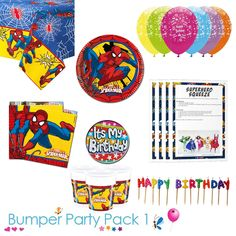 Ultimate Spiderman party tableware bumper pack with a FREE it's my birthday badge and downloadable party game pack! Choose from 8, 16, 24 or 32 guests #Spiderman #SpidermanParty #SpidermanTableware #SpidermanPartySupplies #superheroparty