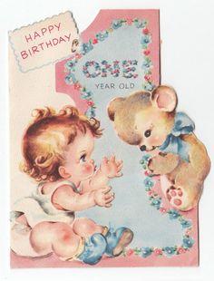 Vintage Greeting Card Cute First Birthday One Year Old Bear Die Cut 1