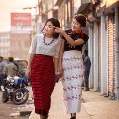 Traditional Looks, Traditional Dresses, Myanmar Dress Design, Northeast India, Ethnic Dress, Apple Wallpaper, Dress Silhouette, Kebaya, Designer Dresses