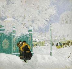 Boris Michailowitsch Kustodijew Impressionist Art, Painting Snow, Russian Art, Figure Painting, Fine Art Painting, Naive Art, Painting, Paintings I Love, Art