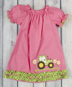 6590f65b8c2 Loving this Stellybelly Hot Pink Dot Tractor Stella Dress - Infant