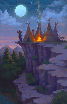 background art for mobile game, Jan Unolt on ArtStation at https://www.artstation.com/artwork/zxXJL