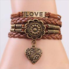 Love Vintage Mandala Charm Bracelet