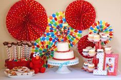 """Photo 10 of 59: Elmo and Rainbow Colors / Birthday """"Colorful Elmo 1st Birthday""""   Catch My Party"""