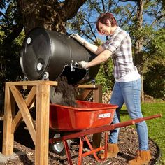 DIY Compost Barrel Tumbler Drop, Roll and Dump – DIY Compost Tumbler: It's large and loaded with features-but you can build it for the cost of a bargain model Read more: www. Compost Barrel, Garden Compost, Outdoor Projects, Garden Projects, Garden Tools, Diy Compost Tumbler, Diy Compost Bin, Composting Bins, Compost