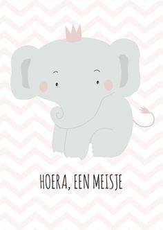 Felicitatie olifantje meisje - Felicitatiekaarten - Kaartje2go