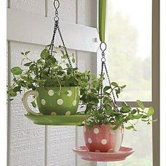 "For the ""cute"" in all of us… these polka dot teacups were converted by gluing the saucers to the cups with industrial strength glue (we recommend Gorilla Glue) and using a ceramic tile bit and an drill to create holes for hanging."