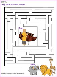 Help Noah Find the Animals (Maze)- Kids Korner - BibleWise