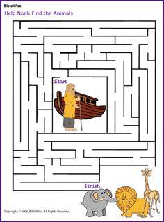 Help Noah Find the Animals (Maze)- Kids Korner - BibleWise