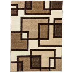 Ruby Imagination Squares Cream (Ivory) 7 ft. 10 in. x 9 ft. 10 in. Modern Geometric Area Rug