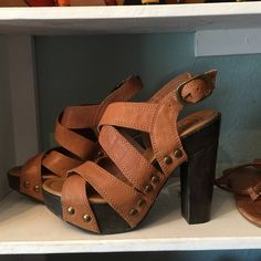 """Selling this """"Lucky Brand wooden platform heels brown leather"""" in my Poshmark closet! My username is: janadenae. #shopmycloset #poshmark #fashion #shopping #style #forsale #Lucky Brand #Shoes"""