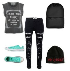 """""""Grunge Manic"""" by darkenedroses on Polyvore featuring Wildfox, Converse and Rains"""
