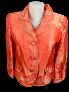 Armani Collezioni LADIES Orange Patterned Silk Blazer Jacket Career 38 Italy #Armani #Blazer
