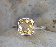 Faceted Citrine Sterling Silver cushion square shape stacking bezel set ring - November Birthstone Size 7-8