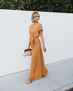 PREORDER - Short Sleeve Solid Bardot Wrap Maxi Dress - Spice