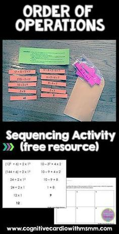 Try this fun, free activity to help your math students practice order of operations. Math Tutor, Teaching Math, Teaching Ideas, Math Education, Fun Math, Math Games, Math Math, Maths, Math Expressions