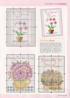 Flowers for Mum 4 of 5 123 Cross Stitch, Cross Stitch Numbers, Small Cross Stitch, Cross Stitch Kitchen, Cross Stitch Books, Cross Stitch Bookmarks, Cross Stitch Cards, Cross Stitch Flowers, Cross Stitch Designs