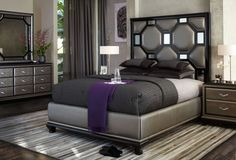 AICO After Eight Collection King Upholstered 7 Pc Bedroom Set by Michael Amini