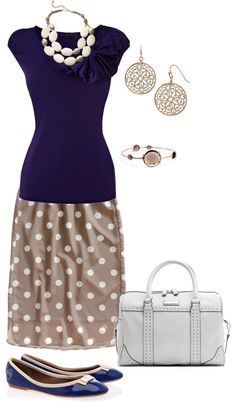 Navy Blue Light Brown Gold White Polka Dot Outfit