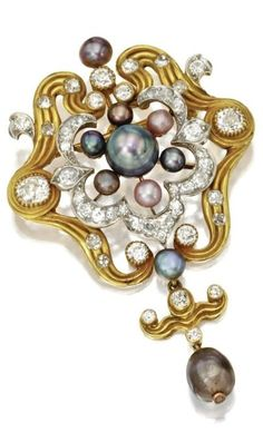 Natural pearl and diamond pendant-brooch, Tiffany & Co., circa 1890. Natural pearls of various colours, old European-cut diamonds weighing approximately 4.25 carats, mounted in gold, signed Tiffany & Co. #Tiffany #BelleEpoque #Victorian #antique #pendant #brooch