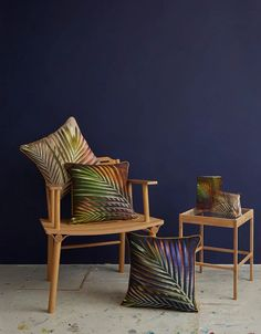Perfect for maximalists, colour lovers and those who like bold interior design!  These sustainable cushions are made from eco friendly linen.  Inspired by tropical islands, botanical illustrations and style it dark interiors.  They look amazing against dark walls and plush velvet. Dark Walls, Dark Interiors, Textile Prints, Accent Chairs, Cushions, Tropical, Interior Design, Inspiration, Furniture