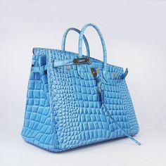 Stunning Hermes style Birkin handbag in Light Blue.