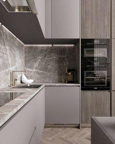 86 modern luxury kitchen design ideas that will inspire you ~ House Design Ideas Kitchen Room Design, Luxury Kitchen Design, Kitchen Cabinet Design, Home Decor Kitchen, Kitchen Layout, Interior Design Kitchen, Kitchen Cart, Kitchen Storage, Kitchen Grey