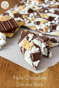 Triple Chocolate S'mores Bark Recipe l www.a-kitchen-addiction.com