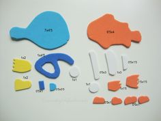 Piezas y medidas para hacer a Dory y Nemo en goma eva #gomaeva #foamy #diy…