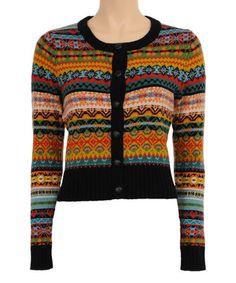 Louie et Lucie Black & Red Fair Isle Wool-Blend Cardigan King Louie, Altering Clothes, Fair Isle Knitting, Knitting Designs, Knit Cardigan, Mantel, Wool Blend, Knit Crochet, Knitwear