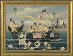 RALPH EUGENE CAHOON, JR.  American, 1910-1982  Sea Enchantress Tattooing Co., depicting three sailors on the back of a whale getting tattooed by three mermaids. Sailor at right has Martha on his chest. Three other mermaids swim in foreground showing the sailors other tattoo designs. A ship and two balloons in background. Signed lower right R. Cahoon.  Oil on masonite, 18 x 24. Framed.