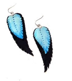 Feather earrings. Dangle leather earrings. Leather by julishland, $10.00