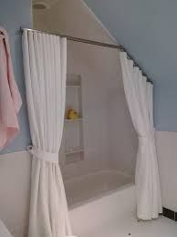 shower curtain for angled ceiling Attic Shower, Bathroom Shower Panels, Shower Rods, Window In Shower, Shower Curtain Rods, Bathroom Windows, Sloped Ceiling Bathroom, Angled Ceiling Bedroom, Angled Ceilings