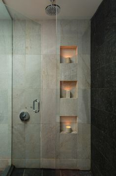 A shower niche is a practical and stylish vessel for all our necessities. A permanent tiled niche not only looks great it won't gather mold as a plastic hanging storage unit can. Modern Bathroom Design, Bathroom Interior Design, Bathroom Designs, Bathroom Ideas, Modern Bathrooms, Hotel Bathrooms, Shower Niche, Shower Walls, Shower Bathroom