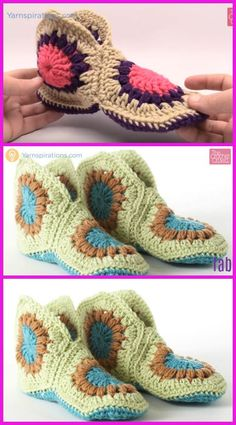 Crochet Granny Hexagon Slippers Free Patterns-Video Crochet Granny Hexagon Slippers Free Patterns-Video: Granny Slippers free pattern, African flower slippers and boots. Loom Knitting Patterns, Easy Crochet Patterns, Crochet Granny, Crochet Lace, Granny Square Slippers, Crochet Slipper Pattern, Booties Crochet, Knitted Slippers, Crochet Projects