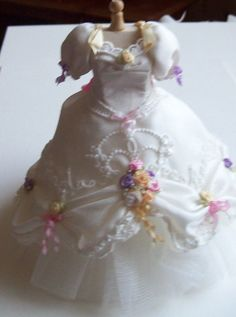 Beautiful handmade 1/12th scale dollhouse miniature silk gown / dress