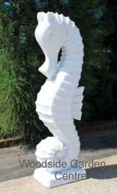 Enigma Marble Resin White Seahorse Garden Ornament | Woodside Garden Centre | Pots to Inspire