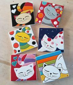 Small Canvas Art, Mini Canvas Art, Rock Crafts, Clay Crafts, Coaster Crafts, Ceramic Painting, Mosaic Art, Rock Art, Cat Art