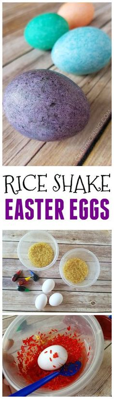 Rice shake easter egg decorating is a fun no mess activity for the kids! So pretty.