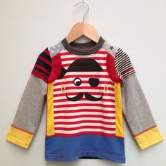Upcycled Boys Tshirt  pirate long sleeves Size 3/4T by dressme, $35.00
