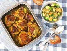 Pollo al horno con miel cúrcuma y tomillo