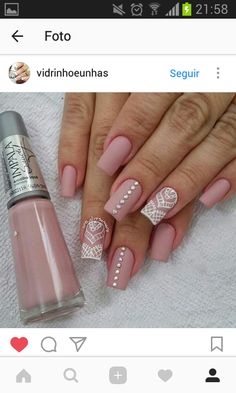 Bling Acrylic Nails, Lace Nails, Pink Nails, Hair And Nails, My Nails, Bridal Nail Art, Nails Only, Elegant Nails, Nail Decorations