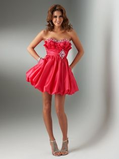 scarlet strapless and sweetheart dress