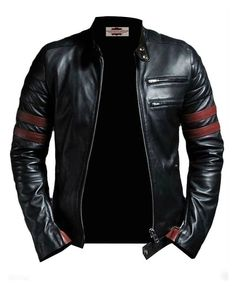 ab7e5dea5dc8 Tough Look Black and Red Faux Leather Jacket (LARGE) at Amazon Men s Clothing  store