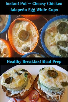 Fluffy, cheesy and slightly spicy egg white cups! Perfect weekend meal prep breakfast idea to make your week easy! Swap out the jalapeños with sundried tomat. Chicken Jalapeno, Cheesy Chicken, Egg White Cups, Healthy Breakfast Meal Prep, Weekend Meal Prep, Weekday Meals, Health And Nutrition, Instant Pot, Food Porn