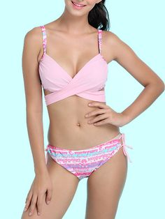 ec301fb3ad Sexy Push Up Cross Front Underwire Padded Stretchy Bikini Sets For Women