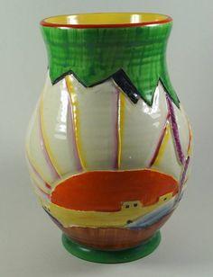 """Crown Ducal 1930's Art Deco Hand Painted SUNDOWN 8"""" Baluster Vase (Shape 146)"""