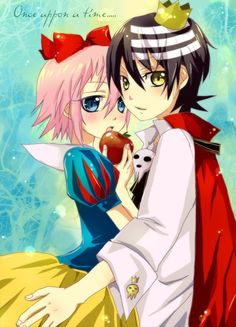 Soul Eater! Crona and Death the Kid. So I don't really ship them but this disney snow white crossover is magic.